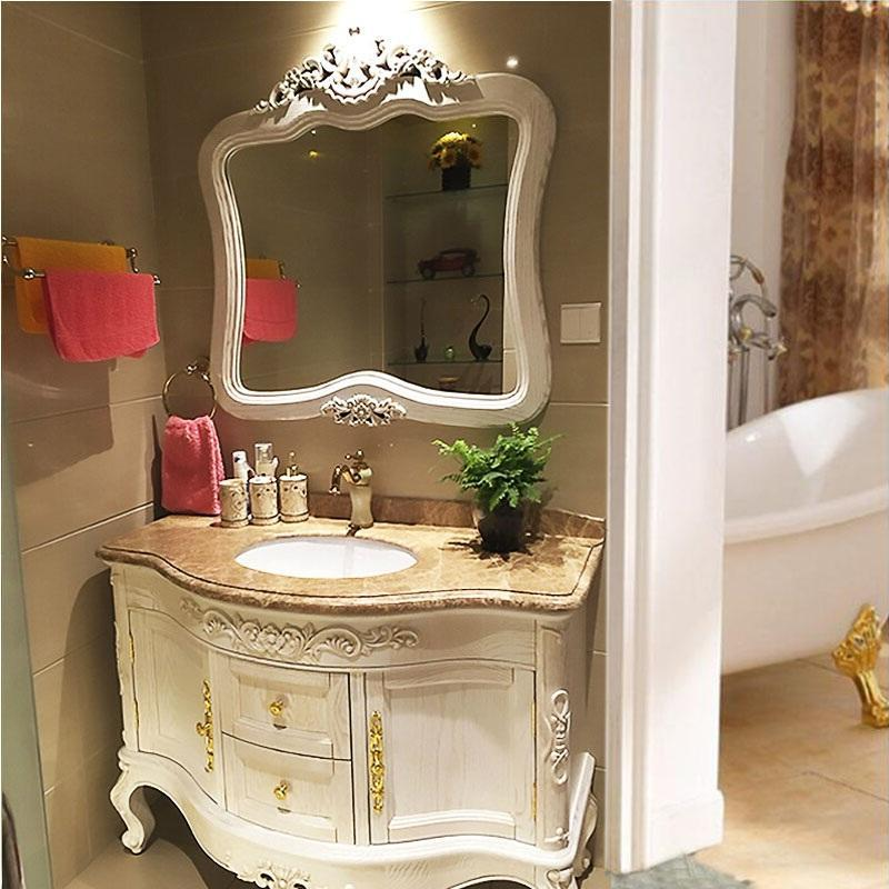 Lavatório lavatório Branco personalizado de BORRACHA PISO de Madeira lavabo banheiro retro estilo europeu armários de Carvalho cair.