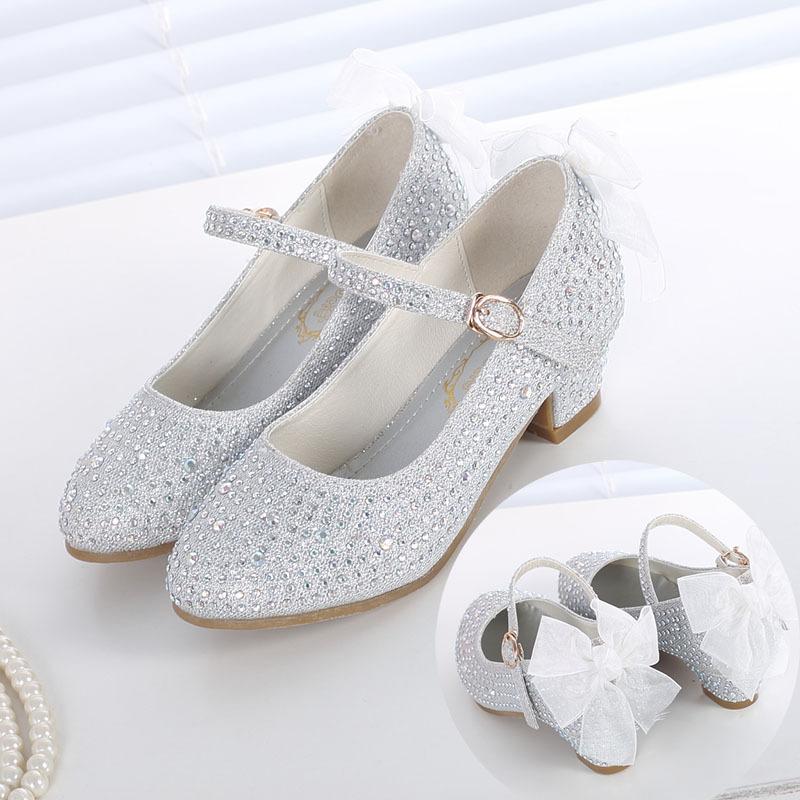 小女孩高跟鞋春秋单鞋小公主中大童女童银色表演鞋金色学生皮鞋