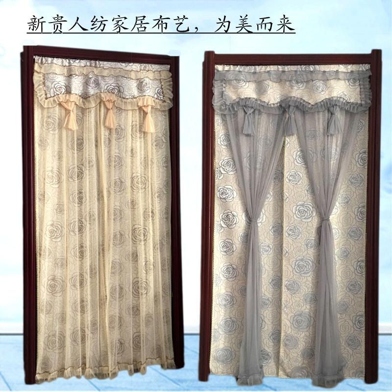 Door curtain fabric thickening, double open double bedroom, long curtain, living room decorative curtain, lace partition curtain, vestibule kitchen hanging curtain