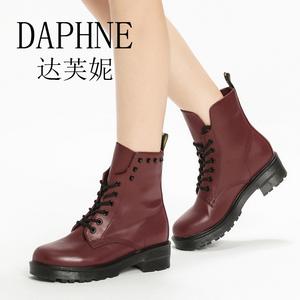 新款女靴子女短筒靴子马丁靴女系带短靴潮骑士靴子百搭1516605003