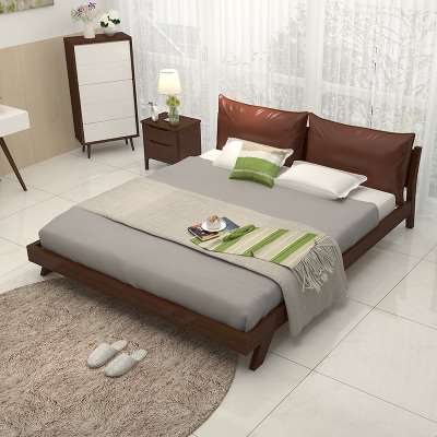 Pure solid wooden furniture double Zhuwo simple single bed 1.5m1.8 meters by modern Japanese software