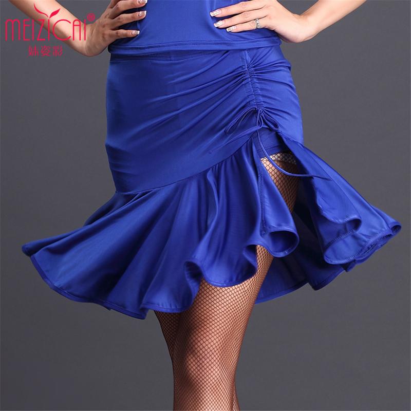 黑色m拉丁舞短裙夏新款 成人女拉丁練習裙 拉丁舞演出裙抽帶大擺裙