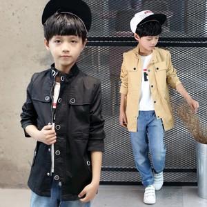 宅时尚早秋新款外套韩版时尚修身印花中长款风衣中大男童装
