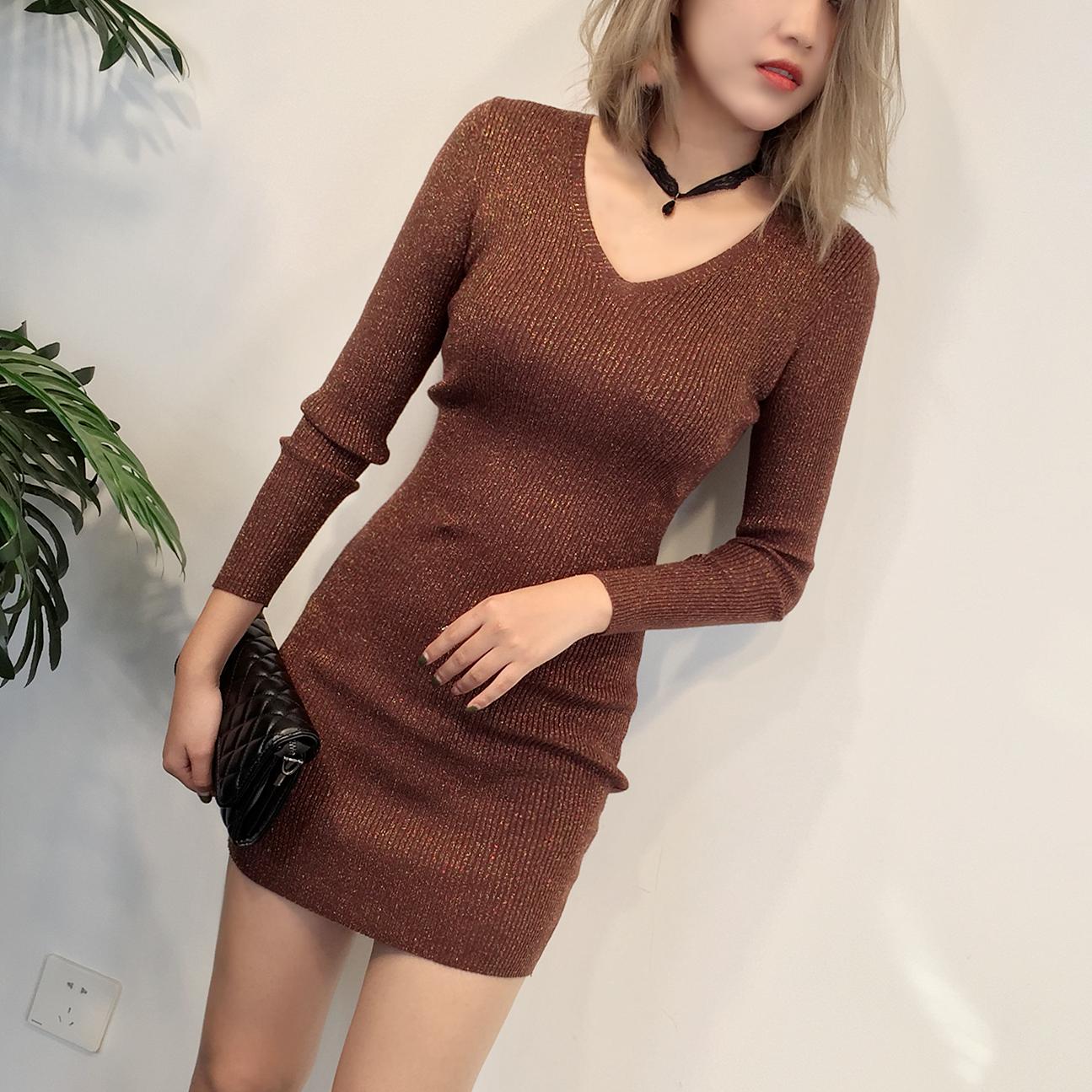 金属亮丝针织连衣裙女秋冬性感修身纯色包臀短裙中长款显瘦毛衣裙