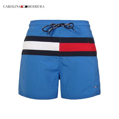 潮牌男士春夏季速干宽松沙滩裤三分拼色休闲短裤海边居家抽带短裤