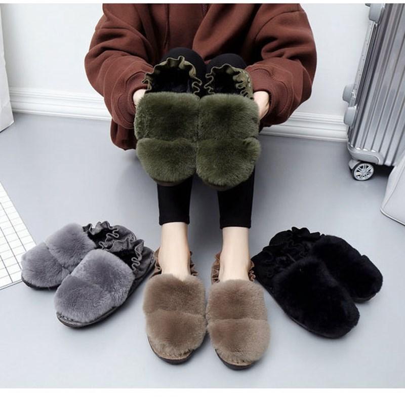 La compra de zapatos, zapatos de cuero con la suela gruesa de pelo de visón en otoño e invierno un ocio holgazán beanie zapatos zapatos de mujeres embarazadas