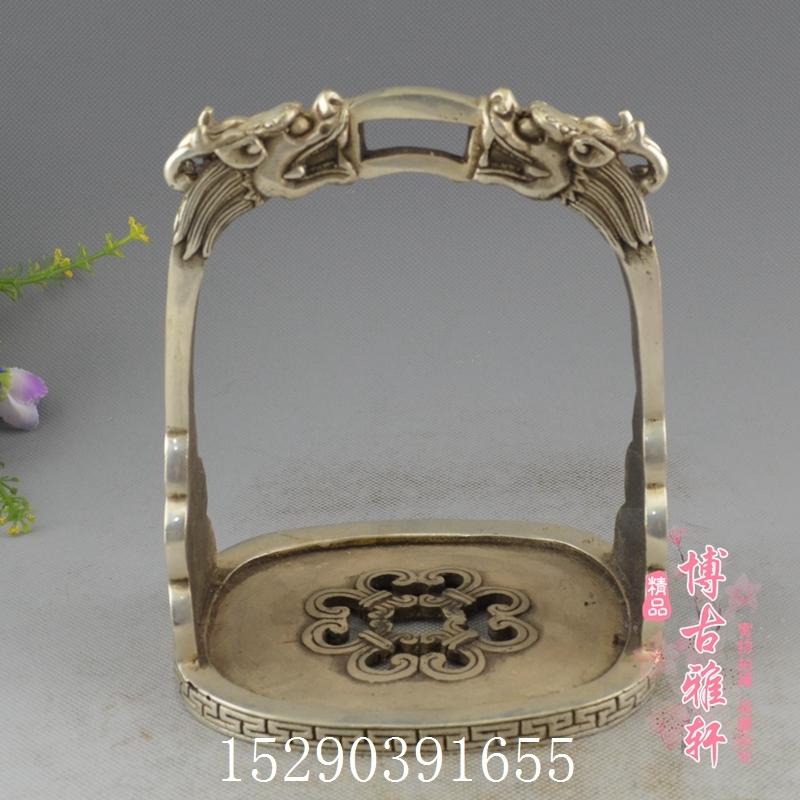 古玩收藏精品純銅白銅黃銅鍍銀馬蹬馬踏舞臺道具騎馬馬具用品可用