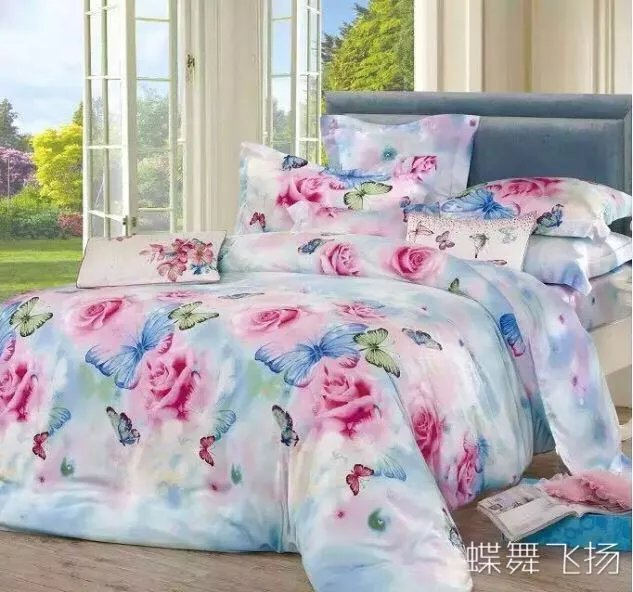 Manufacturers selling high-end bedding 60 double-sided sanding Tencel super soft velvet warm up four sets of butterfly flying