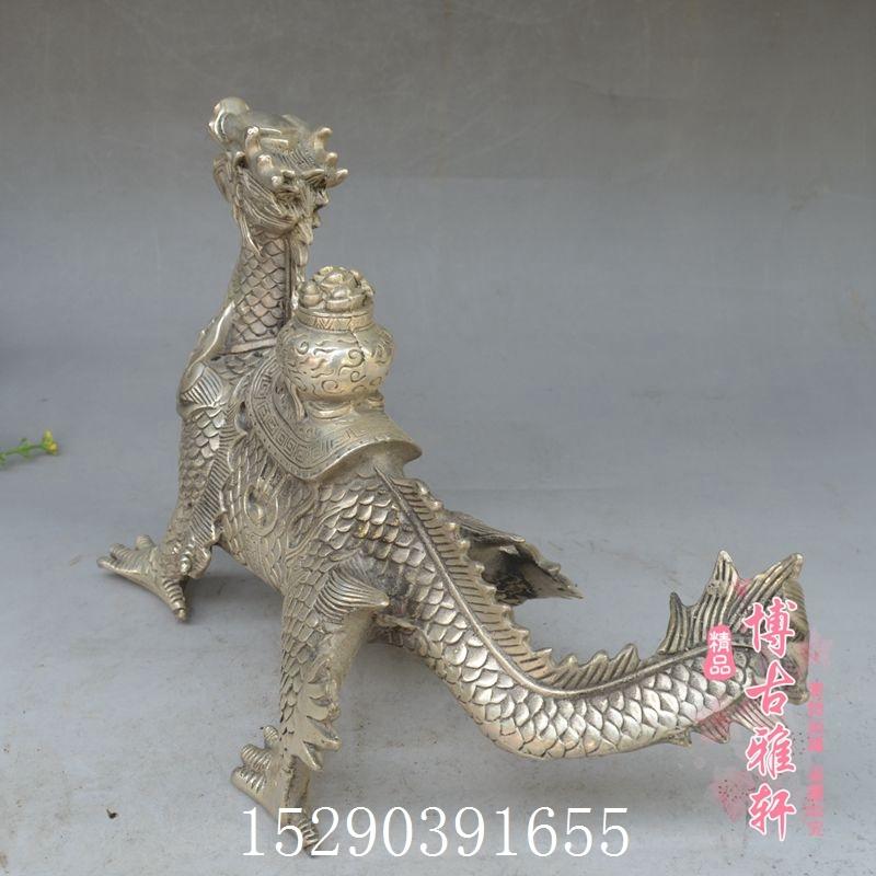 古玩銅器純銅鍍銀白銅寶龍擺件龍家居裝飾仿古工藝禮品收藏精品