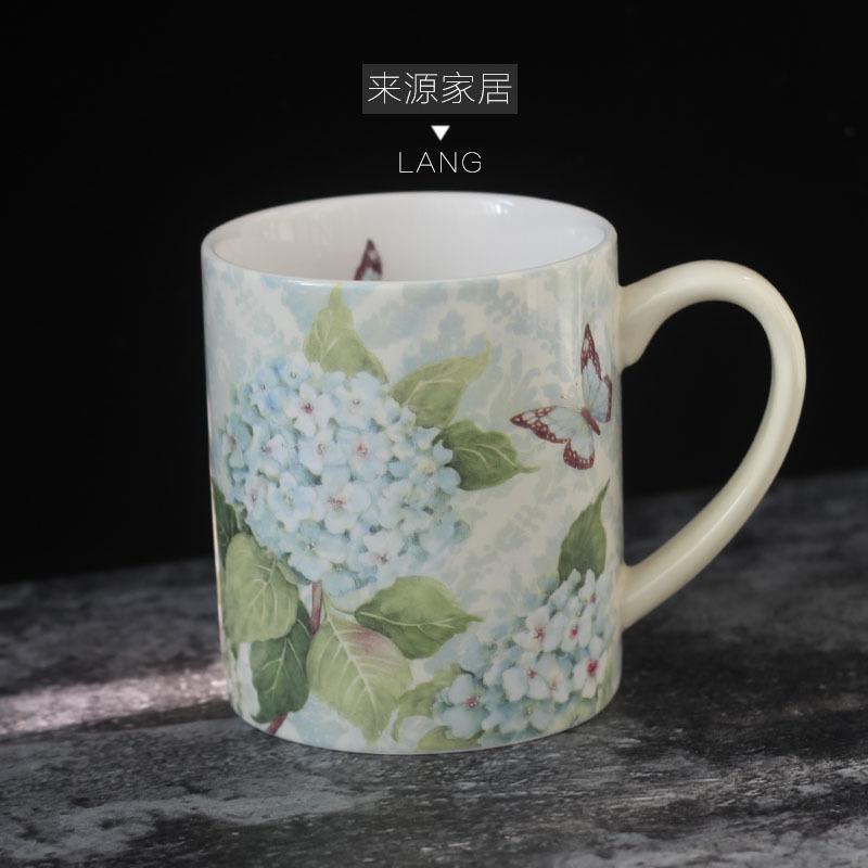繡球花繡球花 出口美國lang馬克杯咖啡奶茶杯大容量田園送禮