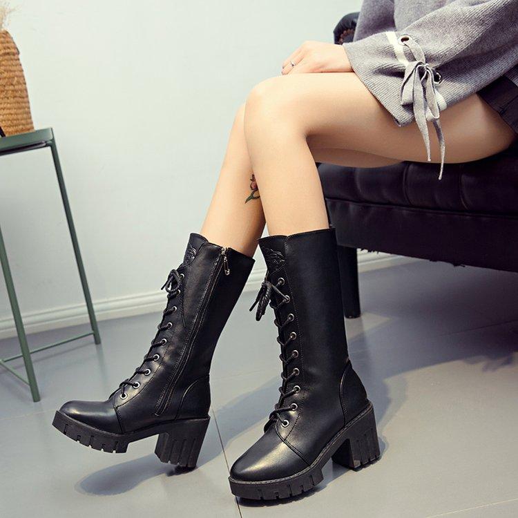 馬丁靴女英倫風粗跟軍