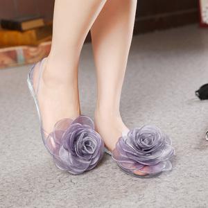 春夏水晶果冻鞋 大花朵蝴蝶结 拼色胶鞋女鞋 露趾凉鞋旅游鞋A039