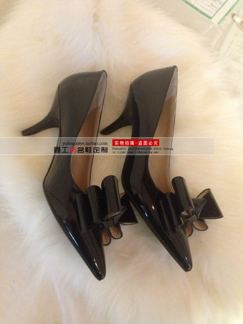 包邮 2014新款女单鞋 欧美风 超大立体蝴蝶结 真皮高跟鞋图片_8