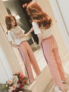 现货哺乳外出夏装女印花字母休闲T恤高腰格子阔腿裤时髦两件套