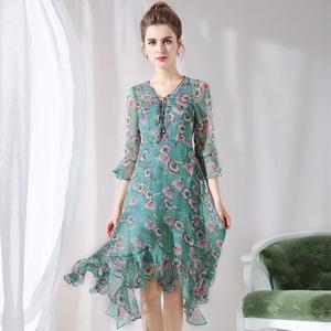 奥芙俪大码女装裙子新款2018夏装度假洋气胖mm遮肚雪纺连衣裙减龄