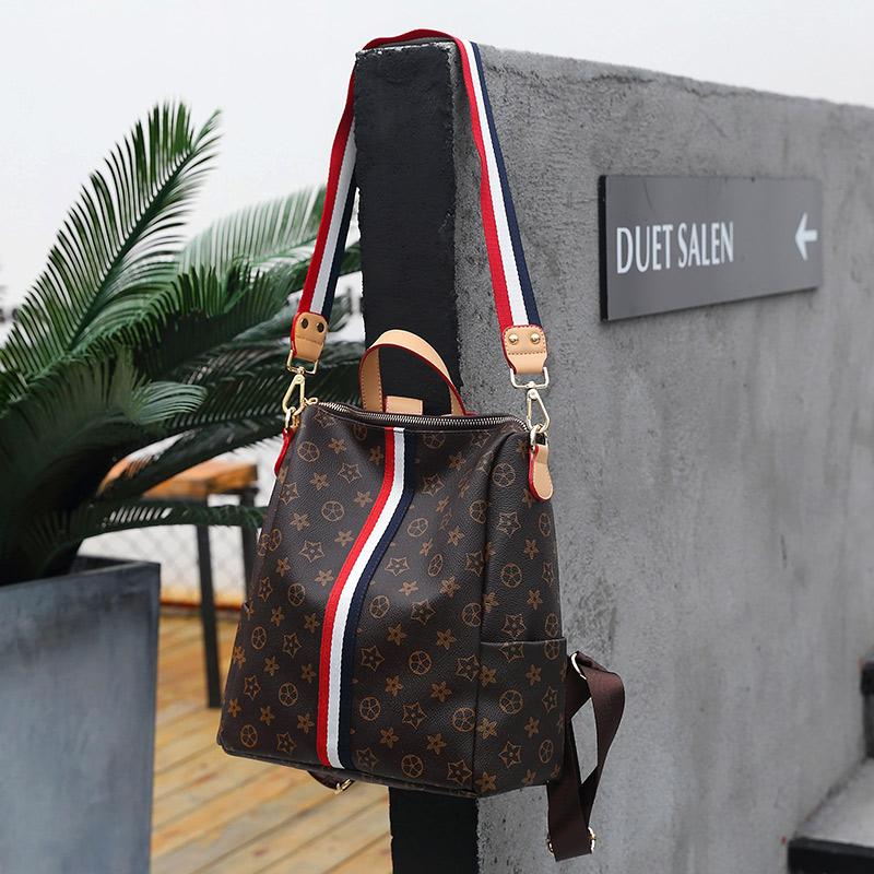 双肩包女2017新款印花包时尚百搭多功能两用旅行背包单肩斜挎包
