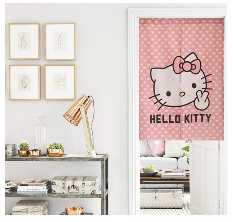 Personalizado tecido de algodão cartoon olá Kitty crianças Sala quarto banheiro Cortina rod - - - pacote