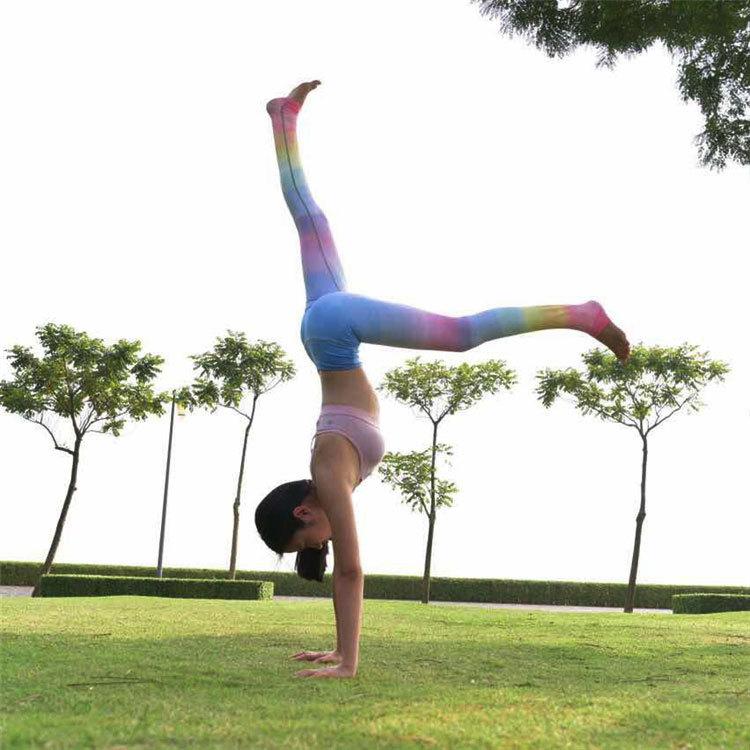 фея Ван постепенно обесцвечивание семь радуга йога брюки спортивные штаны эстетизм slim танец одежды значительно тоньше фитнес - брюки летом