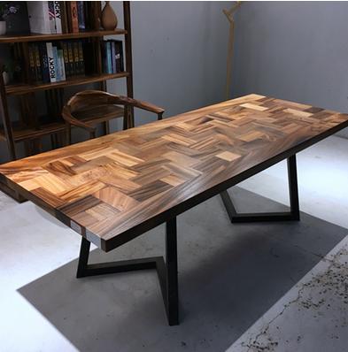 Bar fleur de noix de plaques de bois brut, le patron de la poire de bureau bureau table table table de thé