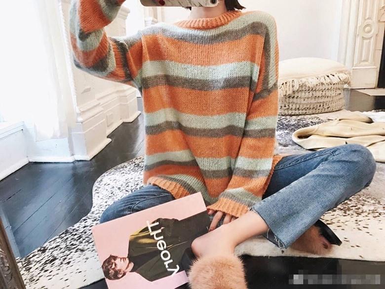 BIGKING Daikin Haus Orange Schatz samt gemischte farbe regenbogen - streifen pullover ulzzang koreanische Frauen