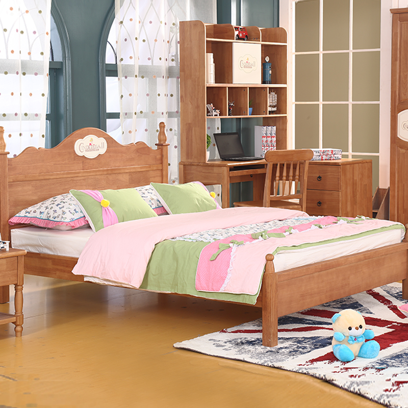 All solid wooden children bed 1.21.5 meters double bed single oak princess bed boy bed suite furniture