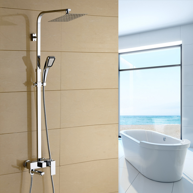 Bathroom shower set square copper rain shower nozzle set pressure hot and cold water mixing valve