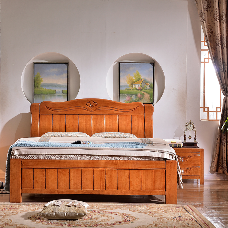 2017 modern Chinese style solid oak beds, 1.5 bedroom, simple solid wood bedside, 1.8 meters double parcel mail