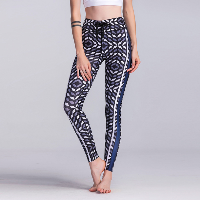 LECOCO| black and white ash collage style Fitness Yoga Pants tight Leggings female yoga clothes