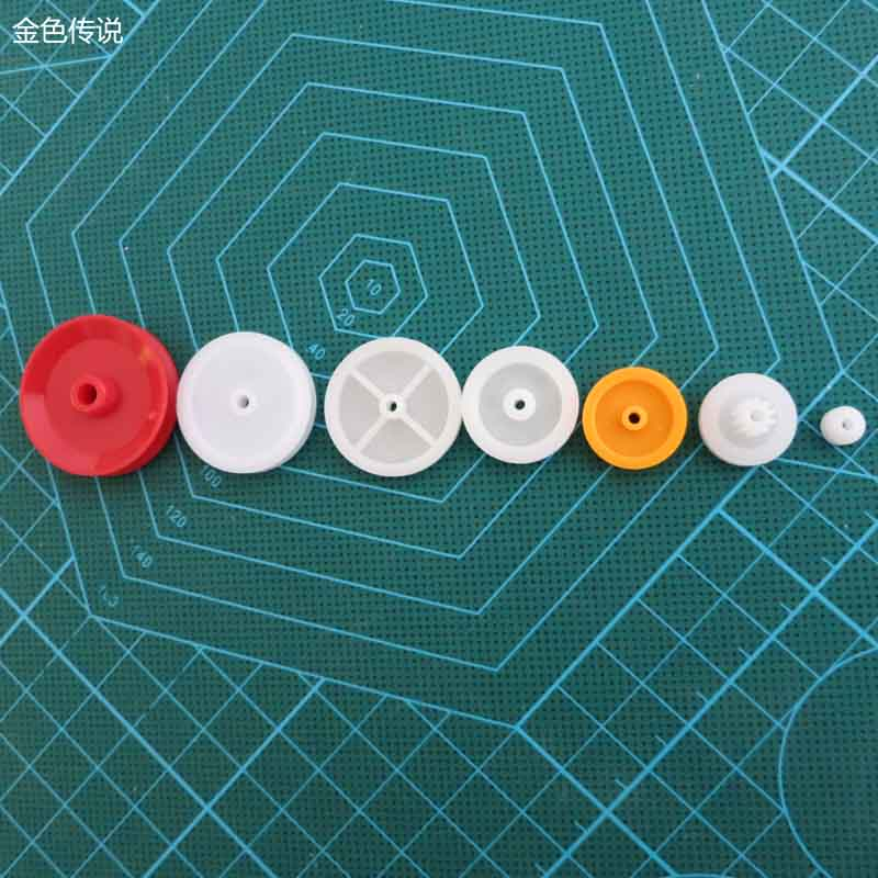 7 kinds of plastic pulley group drive wheel, moving pulley, fixed pulley accessories, small pulley model accessories kit