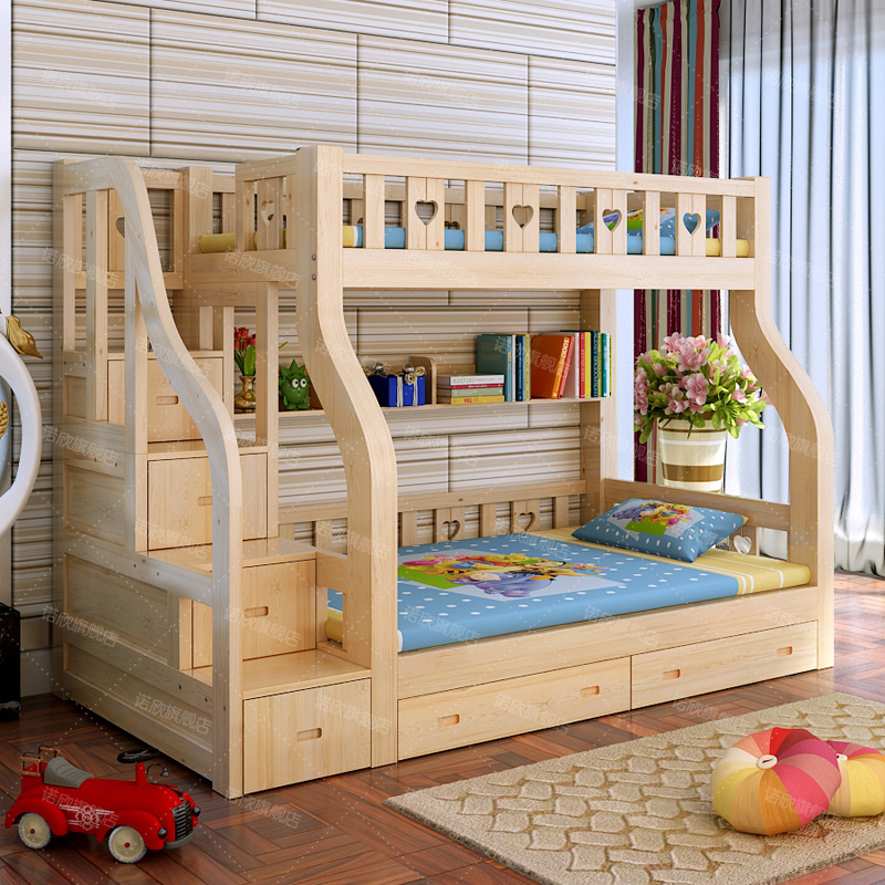 The new special offer bed single bed children bed with pine smoke level bed mother bed ladder double bed solid wood furniture