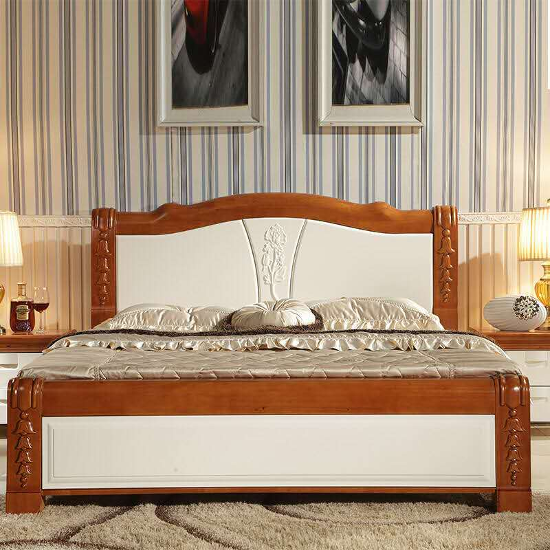 The 1.8 bed full wood double 1.5 meters bed solid wood bed Chinese oak bed bedroom carved wooden bed