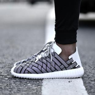 夏季纯手工编织鞋跑步鞋超轻网鞋男士运动鞋休闲鞋韩版潮透气轻便