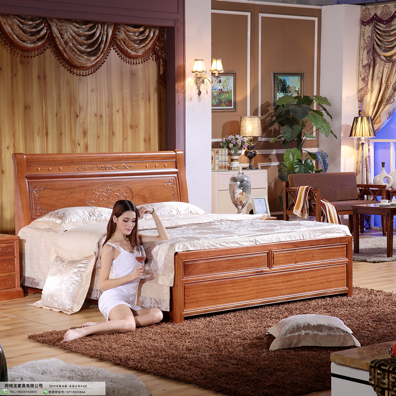 Mahogany furniture mahogany wood single bed double bed merbau modern Chinese factory direct special offer