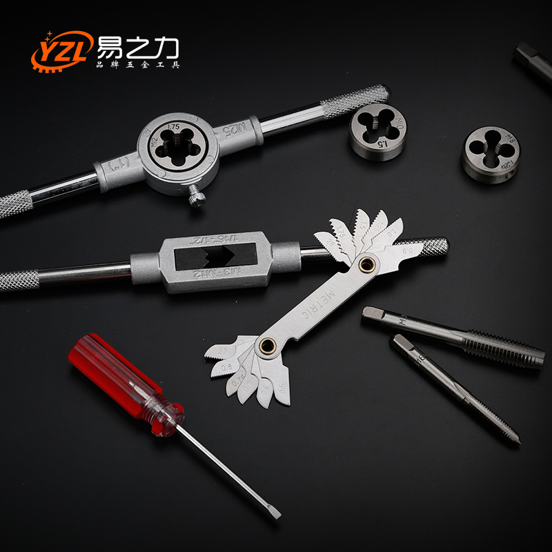 Metric tap and die set screw tapping device with manual hand tapping wrench five tool holder