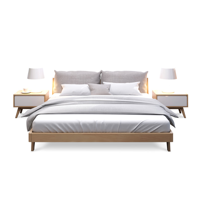 Nordic bed all solid wood bed modern minimalist soft 1.8 meters master bedroom furniture, marriage bed 1.5 meters oak bed double bed
