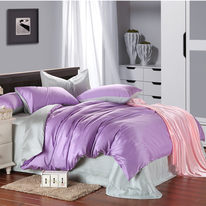 Genuine simple European style double color sheets bedding Tencel four piece set custom fitted round bed