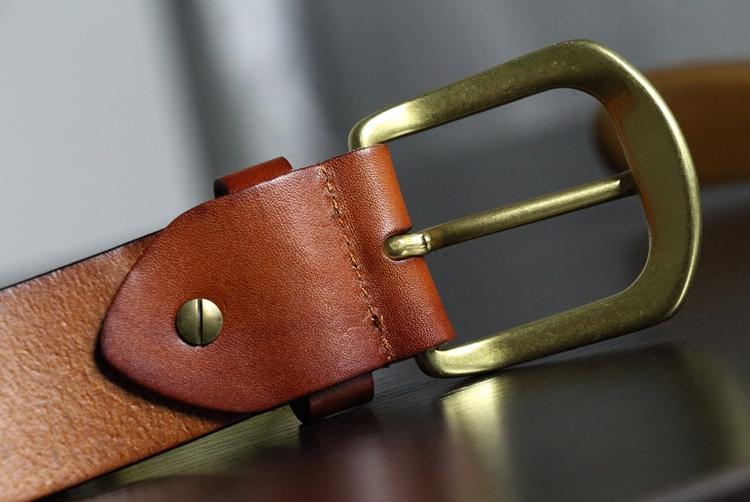 いい物は銅ボタンよ頭階牛皮ウイベルトカジュアル針バックルベルト簡単真皮百搭デザイン
