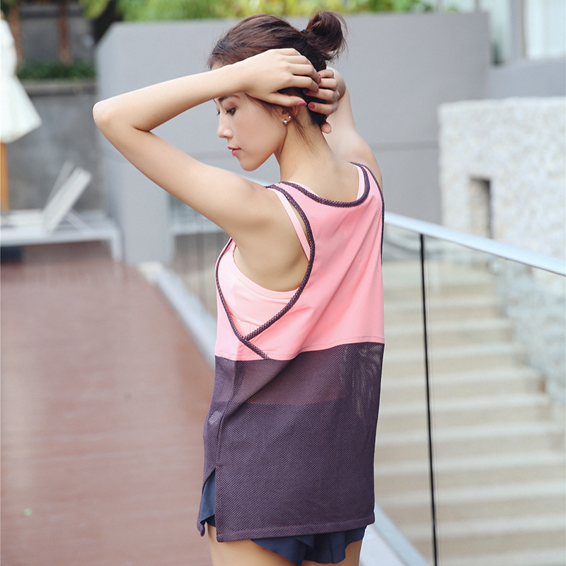A: spell yarn vest fitness clothes sleeveless T-shirt and fast dry yoga practice running female blouse