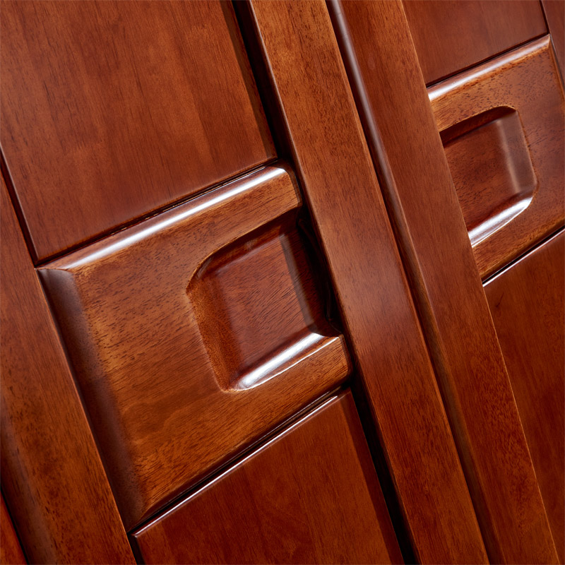 Modern Chinese all solid wood wardrobe, custom 4 door wardrobe, rubber wood integrated bedroom furniture assembly lockers