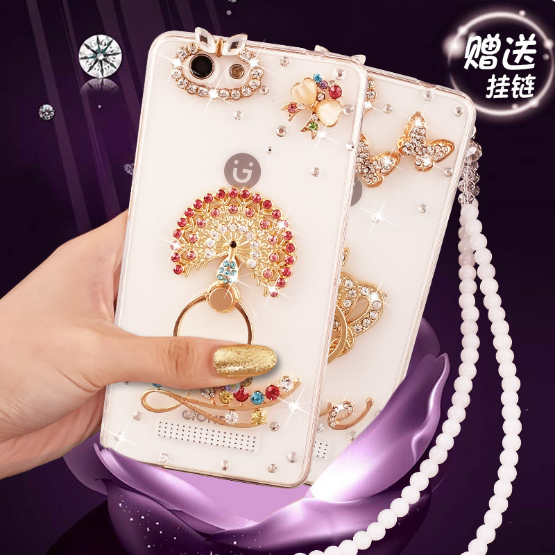 Jin M5 mobile phone shell female soft silicone gioneeM5 transparent protective sleeve with diamond ring M5 creative hanging bead chain 5m