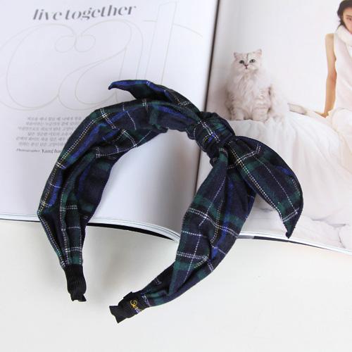นำเข้าจากเกาหลีผ้าคาดผ้าคาดหัวกระต่ายหูลายสก๊อตผ้าคาดผูกผ้าคาดหัวสไตล์อังกฤษ