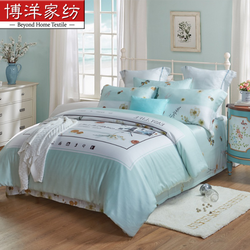 Four sets of 40 branches of Tencel textiles and pastoral bedspread bedding 1.8m