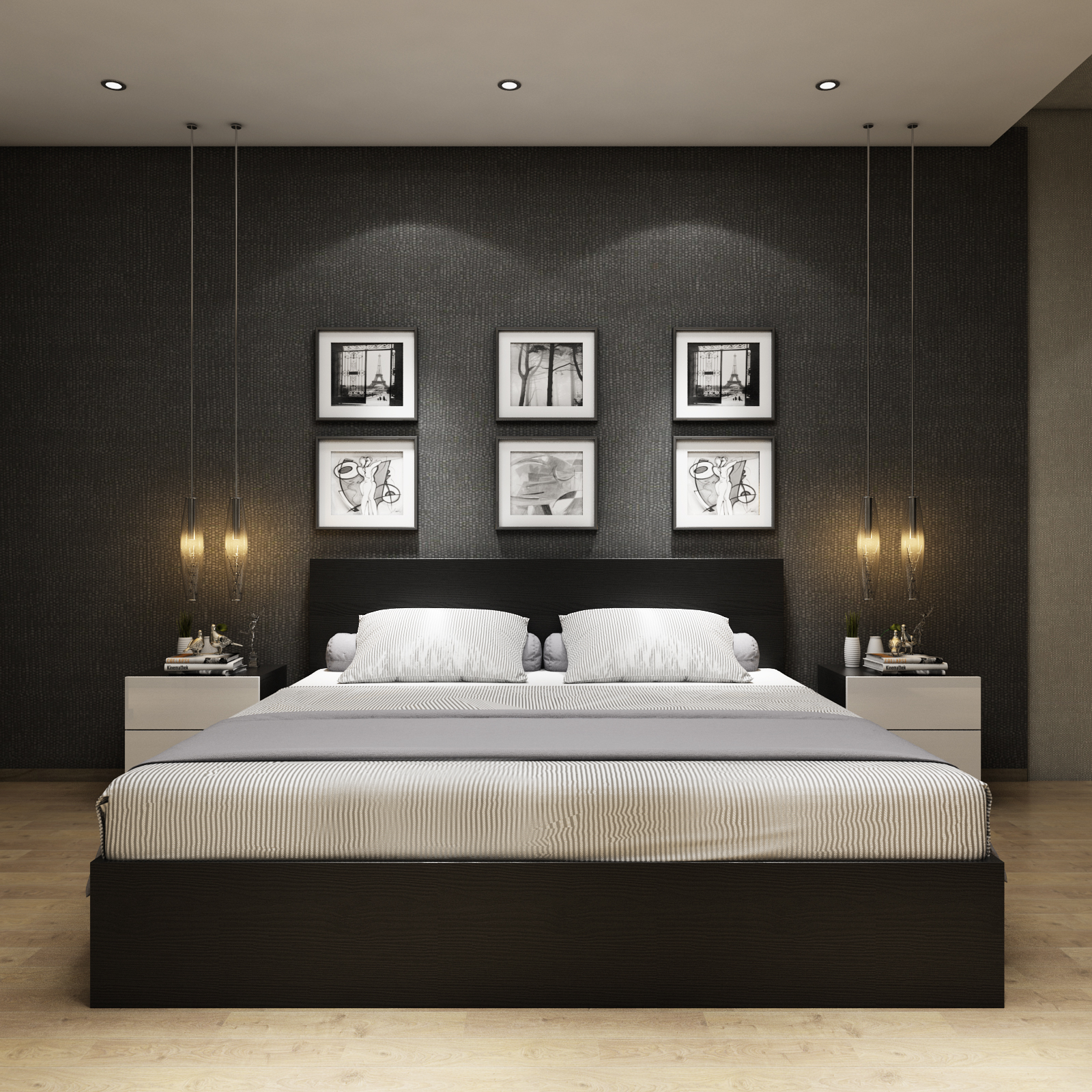 Modern minimalist bed type, Nordic black oak bed, bedroom storage bed, high box, bed sheets, double beds can be customized