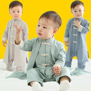6-12个月宝宝秋装男0一1岁新生婴儿衣服潮款汉服纯棉秋季连体哈衣