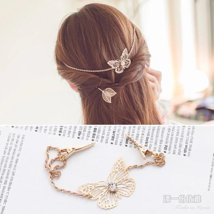 Der neue sen eine retro - Blätter der band schmetterlinge eine manuelle kette Hing haarspange stirnband koreanische.