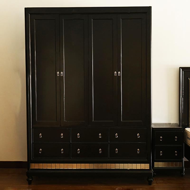 Le placard de la nouvelle couleur champagne bois noir classique moderne de la garde - robe de personnalisation simple