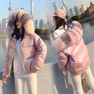 短款羽绒服女2018新款冬装韩版大毛领双面穿亮面时尚小个子加厚潮