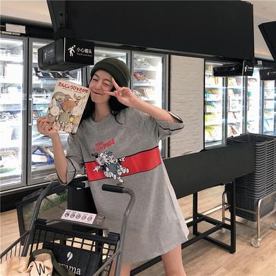 实拍 小视频 卡通字母印花短袖t恤女中长款韩版宽松上衣