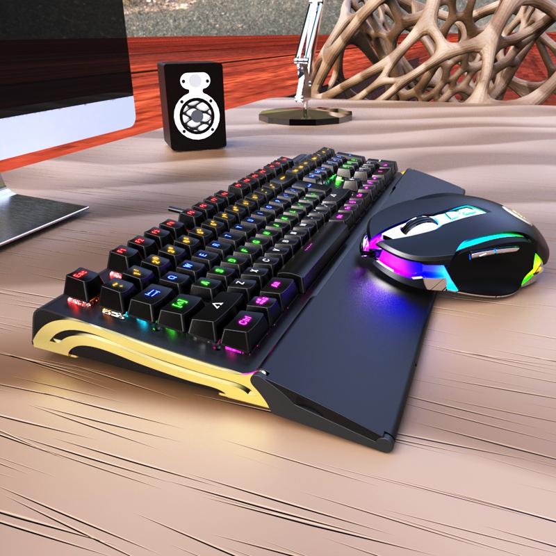 bat - ryttare BK518 mekaniska nycklar svit av 104 centrala bar vattentäta spel tangentbord och mus