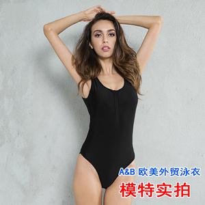 8812實拍#歐美外貿新款速賣通ebay連體比基尼bikini泳衣純黑拉鏈